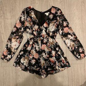 Floral V Neck Long Sleeve Shorts Romper- Boho Chic